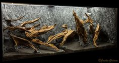 vivarium with Great Stuff pond and stone foam background and manzanita branches by Justin Grimm