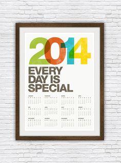 2014 calendar poster, typography print, helvetica art, midcentury modern, retro 50x70