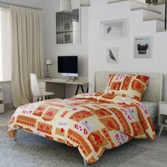 Bavlněné povlečení krémové hnědé béžové červené perníček perníčky cottage rustikální romantické srdce Comforters, Blanket, Bed, Furniture, Home Decor, Lily, America, Creature Comforts, Quilts