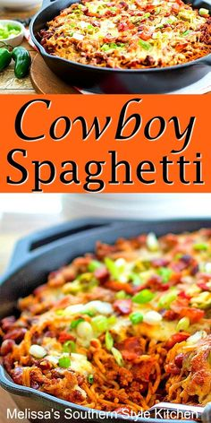 You'll bring the heat to supper any day of the week when you serve this pasta skillet filled with beefy Cowboy Spaghetti. Beef Recipes For Dinner, Ground Beef Recipes, Meat Recipes, Pasta Recipes, Mexican Food Recipes, Cooking Recipes, Good Easy Dinner Recipes, Cabbage Recipes, Kitchen