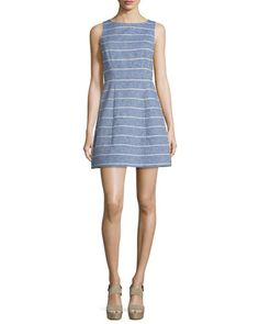 TBYBJ Alice + Olivia Lindsey Structured Striped Dress, Blue