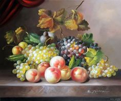 Fruit Still Life Classic Grapes Peaches Table Stretched