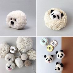 WEBSTA @ mommodesign - Super cute Pom Pom panda and poodle by Played Yourself, Cute Creatures, Plushies, Your Design, Garland, Stuff To Do, Kids Decor, Crafts For Kids, Super Cute