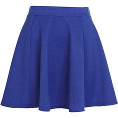 Bright blue textured skater skirt - skater skirts - skirts - women