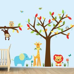 Amazon.com: Baby Animal Wall Decals, Nursery Wall Decals Animals (SG Color Me Happy): Home & Kitchen