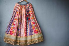 Bridal Lehengas - Threadwork Sabyasachi Multicolored Paneled Lehenga | WedMeGood  #wedmegood #indianwedding #indianbride #lehenga #lehengas #multicolored