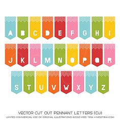 Vector Cut Out Pennant Letters {CU}