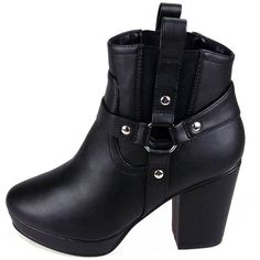 Leather Look Heeled Ankle Boot in Black ($39) ❤ liked on Polyvore featuring shoes, boots, ankle booties, heels, black, vegan ankle boots, jeffrey campbell booties, short black boots, black bootie and black bootie boots