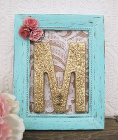 Letter M Nursery Decor Baby Girl Nursery Art by SeaLoveAndSalt