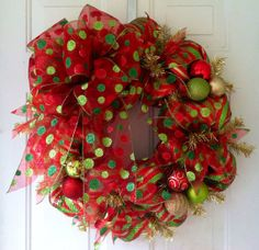 SALE: Whimsical, Red, Lime Green & Gold Striped, Deco Mesh Christmas Wreath with a beautiful Red Polka Dot Christmas Tree or Wreath Bow Christmas Mesh Wreaths, Christmas Door Decorations, Holiday Decor, Winter Wreaths, Christmas Projects, Christmas Holidays, Christmas Tree, Christmas Ideas, Wreath Crafts