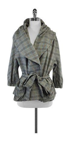 Marc Jacobs Grey Plaid Shawl Collar Jacket