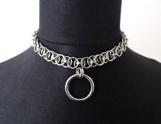 Stainless Steel Chainmail Discrete O-Ring Day Collar / Choker Necklace / Gothic, Alternative, BDSM Bondage Jewelry by ApocalypseMetalwear on Etsy https://www.etsy.com/listing/229923267/stainless-steel-chainmail-discrete-o