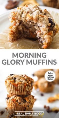 These Paleo + Vegan morning glory muffins are a hearty breakfast muffin loaded w. - These Paleo + Vegan morning glory muffins are a hearty breakfast muffin loaded with raisins, apples - Vegan Breakfast Muffins, Vegan Muffins, Healthy Muffins, Breakfast Recipes, Morning Glory Muffins, Paleo Vegan, Paleo Diet, Muffins Sains, Raisin Muffins