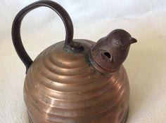 Copper Tea Kettle with Bakelite Whistling Bird by Treasuredoncemore on Etsy https://www.etsy.com/listing/226091067/copper-tea-kettle-with-bakelite