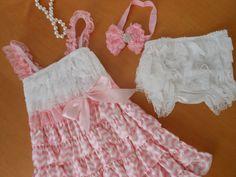 Ready to ShipLight Pink Chevron and White Petti by TheRuffledbum, $39.95