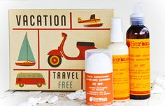 Integrated Vegan Sun Protection for face, body & hair in a beautiful vintage box. You will receive 3 items: Face Natural Sunscreen, Travel Box, Travel Kits, Chemical Free Sunscreen, Summer Gift Baskets, Sun Care, Vintage Box, Natural Cosmetics