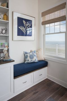 Ocean views from nearly every room? This custom beach home on Long Beach Island, New Jersey built by Walters Homes is filled with a relaxing surf, sand and sea color palette th… Small Space Interior Design, Interior Design Living Room, Minimal House Design, Space Interiors, Dining Nook, Home Decor Furniture, Decoration, Ocean Views, Long Beach