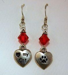Silver I Love my Cat Earrings w/ genuine red siam Swarovski crystal beads