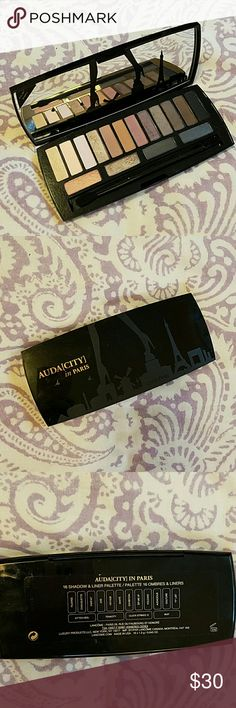 Lancome Audacity in Paris palette Audacity in Paris eyeshadow palette by Lancome. 16-pan palette contains a mix of matte and shimmer shades for a variety of looks! Very gently used, excellent condition. Dual-ended brush included! Lancome Makeup Eyeshadow