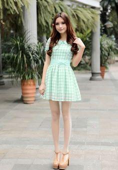 Mango Doll - Sweet Bubble Sleeve Checker Dress, $49.99 (http://www.mangodoll.com/all-items/sweet-bubble-sleeve-checker-dress/)