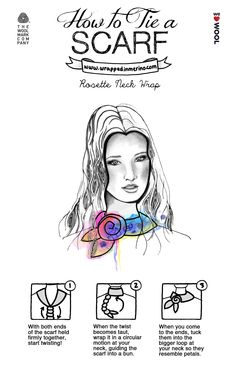How to Tie a Scarf by WrappedinMerino.com - Rosette Neck Wrap #Woolmark #WeLoveWool