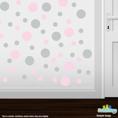 Baby Pink / Light Grey Polka Dot Circles Wall Decals #decalvenue #decals #stickers