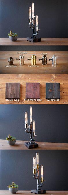 Edison lamp/Rustic decor/Table lamp/Industrial lamp/Steampunk light/housewarming gift/gift for men & women/bedside lamp/desk accessories
