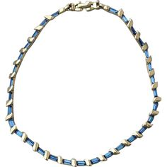 1940s Blue Baquette Rhinestone Pennino Necklace Toinette's on Ruby Lane for YOU!