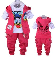 New Donald Duck set Kids Spring autumn Korean boys Clothing set,Kids Cortoon clothing set,Boys&Girls Clothes set for 2-5Yrs