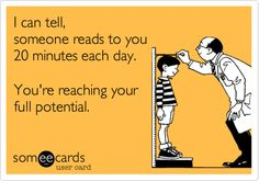 and don't stop when they are reading pretty well on their own--reading vocabulary doesn't catch up with oral vocabulary until grade! For great read-aloud books, browse www.biz Have fun!