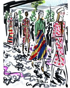 «ReSketch #regram @rickiedesole the color kaleidoscope at @gucci by #AlessandroMichele #mfw #gucci #GucciSS16 #fashion #illustration #color»