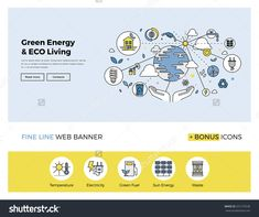 Flat Line Design Of Web Banner Template With Outline Icons Of Clean Technology For Green Energy, Saving Planet, Ecology Care Living. Modern Vector Illustration Concept For Website Or Infographics. Clean Technology, Energy Technology, Web Banner Design, Web Design, Line Web, Sustainable Energy, Aquaponics System, How To Treat Acne, Banner Template