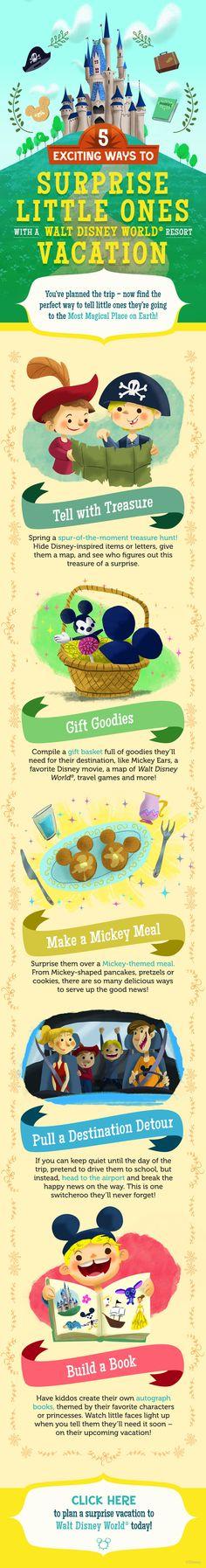5 Ways to Surprise Little Ones with a Walt Disney World Vacation! #DisneyKids #tips #tricks