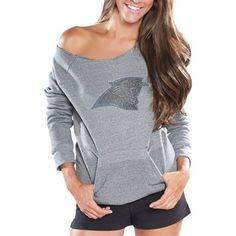 Cuce Fleece Carolina Panthers Ladies Crystal Side-liner Sweatshirt - Gray