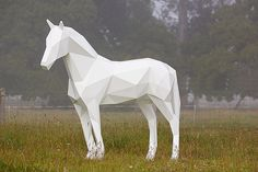 """""""New Zealand-based artist Ben Foster creates wonderful animal sculptures with a geometric design reminiscent of polygonal 3D computer graphics. The lifesize sculptures are crafted out of aluminum or stainless steel and finished with epoxy automotive paint."""""""
