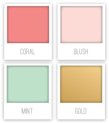 This palette is a great way to tie into the mint sorbet trend... Gold and coral work so well with this trend; add a bit of blush or peach to balance and soften the look