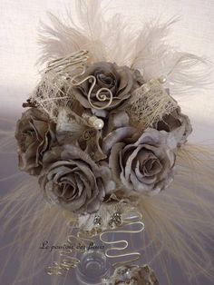 taupe wedding bouquet - need to add some dark to the bouquet if the dresses are going to be light Taupe Wedding, Fall Wedding, Our Wedding, Dream Wedding, Wedding Dreams, Wedding Stuff, Non Flower Bouquets, Wedding Bouquets, Wedding Flowers