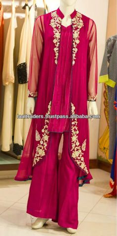 Latest Pakistani designer Hot pink open shirt double shirt embroidered partywear shalwar kameez dress