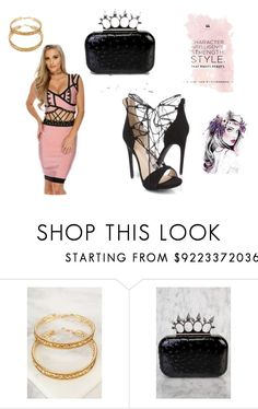 """""""All About Her"""" by amiclubwear on Polyvore featuring Clutch, hoopearrings, bandagedress and laceupheels"""