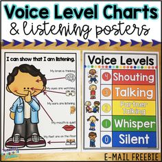 Listening Posters and Voice Level Charts Voice Level Charts, Partner Talk, Voice Levels, Classroom Management Tips, Teaching Tips, School Stuff, Classroom Ideas, The Voice, Teacher