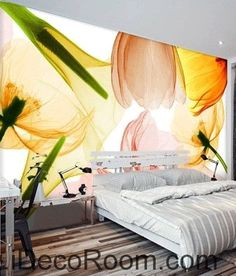 Beautiful dream sunshine lily tulip transparent flower wall art wall decor mural wallpaper wall  IDCWP-000254