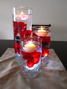Items similar to Floating Candle Centerpiece Kit with Artificial Red Orchids and White LED Light on Etsy