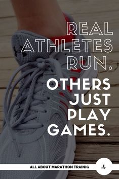 """Real athletes run. Others just play games."" Marathon Training Quotes // Marathon Training Motivation // Marathon Quotes // Marathon Motivation // Marathon Humor // Half Marathon Motivation // Half Marathon Quotes"