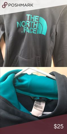 North Face hoodie Nice North Face Hoodie EUC, rarely worn in super cute Navy and teal colors! No signs of wear North Face Tops Sweatshirts & Hoodies