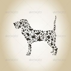 Dog made of birds. The vector illustration, includes EPS, and JPG files. 100 vector, colour profile RGB.