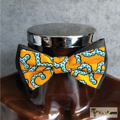 9b0cfff6dc30d Bow tie in African fabric yellow blue black, bow tie adjustable, accessory  wedding ceremony, gift idea, n10. Noeud papillon ...