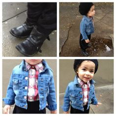 Little 77 by American Eagle plaid shirt and knit beanie, Old Navy harem pant, Baby Gap denim jacket, Zara boots