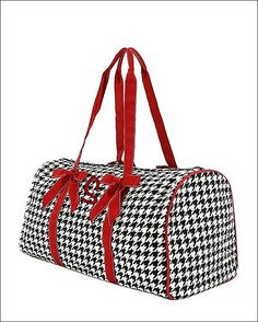 Personalized Quilted Houndstooth Duffel Bag   Black and White with Red Trim