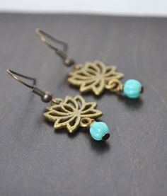 Lotus Flower Earrings Yoga Earrings Yoga Jewelry by LOVEnLAVISH, $16.00