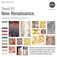 Mudpie Colour Trend Spring/Summer New Renaissance 2014 Trends, Summer Trends, Build A Wardrobe, Lifestyle Trends, Spring Makeup, Renaissance Fashion, Classical Art, Design Reference, Color Trends